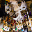 Various venetian masks on sale .  colorful artistic masks on the — Stock Photo #47814755