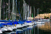 Yacht marina in Riva del Garda in Italy.  Lago di Garda, largest — Stock Photo