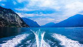 Water in the back of high speed boat — Stock Photo