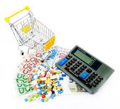 Money and pills and trolley — Stockfoto