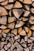 Firewood stacked — Stock Photo