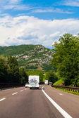 White van on highway — Stock Photo