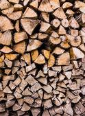 Closeup of chopped fire wood stack  — Stockfoto
