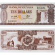 Exotic currency money - ten dollars of Guyana — Stock Photo
