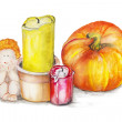 Gentle still life composition with ahgel for halloween iasolate — Stock Photo