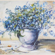 Spring blue flowers oli painting — Stock Photo #16767425