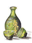 Japanese rice wine - Sake — Stock Photo