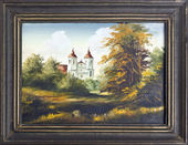 Catholic church oil painting — Stock Photo