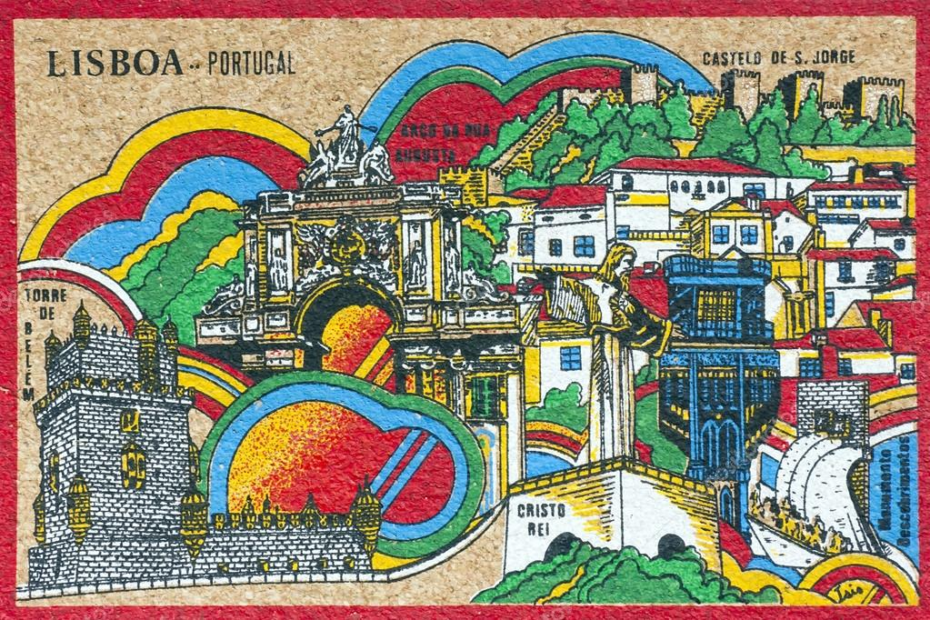 Panorama of the capital of Portugal - Lisbon, on a postcard from the bark of the cork oak — Stock Photo #16766929