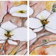 Panel of four paintings - Blooming cherry tree — Stock Photo