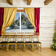 Christmas room in rural house — Stock Photo