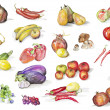 Watercolor fruits and vegetables set - Stock Photo