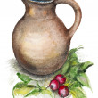 Spring radish and a big jug — Stock Photo