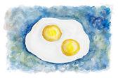 Heavenly flying fried eggs — Stock Photo