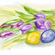 Easter eggs and spring tulips — Stock Photo