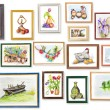 Children's exhibition of watercolor arts — Stock Photo
