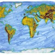 Painted Earth primitive map — Stock Photo