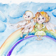 Funny rainbow angels — Stock Photo