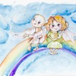 Stock Photo: Funny rainbow angels
