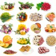 Stock Photo: Food on plates set