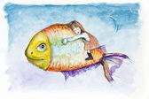 月亮光鱼的梦想 — 图库照片