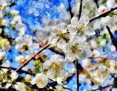 Kvetoucí třešeň a ranní slunce akvarel — Stock fotografie