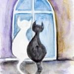 Night Valentine's cats — Stock Photo #36258445
