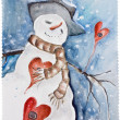 New Years amorous Snowman — Stock Photo