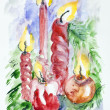 Five Xmas candles — Stok fotoğraf #39372765