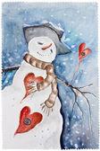 New Years amorous Snowman — Stock Photo