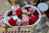 Christmas market gifts top view — Foto Stock