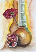 Gerânio vermelho e doce de cereja — Fotografia Stock