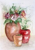 Red ceramic pots — Foto Stock
