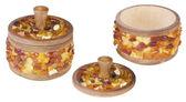 Oak box with amber  — Стоковое фото