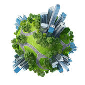Conceptuele mini planeet groene parken samen met wolkenkrabbers en wegen — Stockfoto