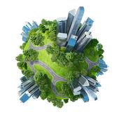 Konceptuella mini planet gröna parker tillsammans med skyskrapor och vägar — Stockfoto