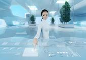 Future technology. Girl press button touchscreen interface. — Stock Photo