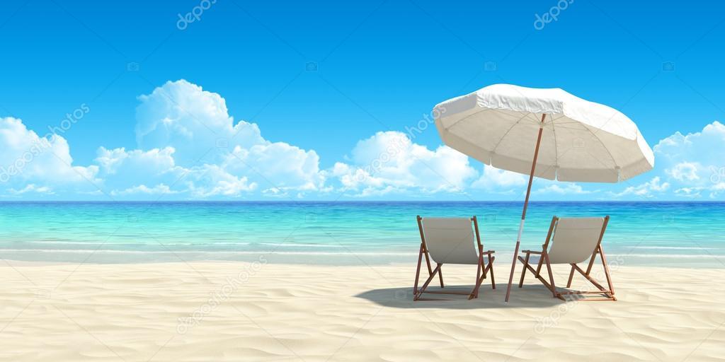 Фотообои Шезлонг и зонтик на пляже.