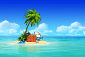 Tropical island with palms, chaise lounge, suitcase. — Stock Photo