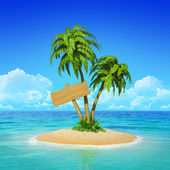 Wooden signpost on tropical island with palms. — Stock Photo