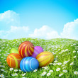 Easter Greeting Card Background with ornate Easter eggs on meadow. — Stock Photo