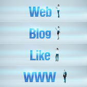 Web, Blog, Like, www : pack of banners. — Stock Photo
