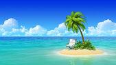 Tropik adada chaise lounge ve palmiye ağacı. — Stok fotoğraf