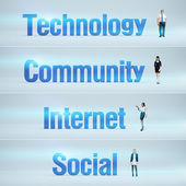 Technology, Community, Internet, Social : pack of banners. — Stock Photo