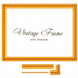 Vintage Gold Frame. High detailed Vector. Consist of parts - so you can make The FRAME any size you want. — Stock Vector