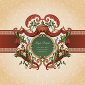 Vintage Card Design. Floral ornament. Flourish pattern background. — Stock Vector