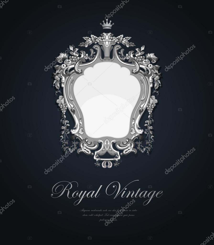 Carte de souhaits vintage. vecteur argent modèle luxe style élégant. design rétro. concept de bijoux \u2013 Illustration
