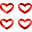 Heart icons set. INFINITE LOVE Looped Ribbon style. Hearts templates such as logo for St. Valentines day. Vector.  — Stock Vector