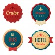 Travel Vintage Labels logo template collection. Tourism Stickers. Vector. Editable. — Vector de stock #26126461