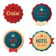 Travel Vintage Labels logo template collection. Tourism Stickers. Vector. Editable. — Stok Vektör #26126461